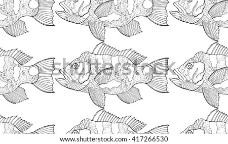 peacock bass pattern - stock vector