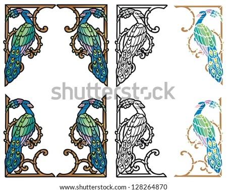 Peacock corner ornaments in four styles - stock vector