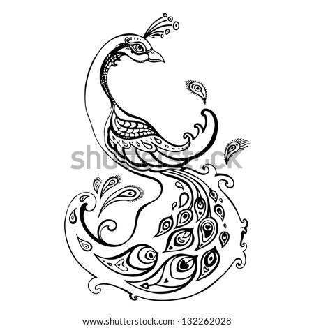 Peacock. Decorative  Black and white contour illustration. - stock vector