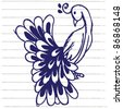peacock doodle sketchy illustration - stock vector