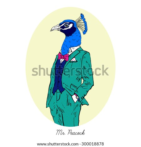 peacock dressed up in colorful suit, fashion bird illustration, anthropomorphic design, furry art, hand drawn graphic, human-bird - stock vector
