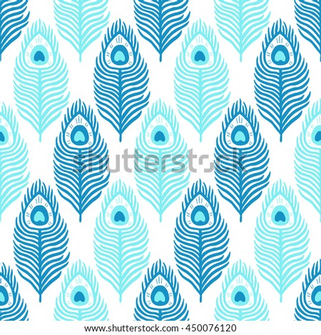 Peacock feather seamless pattern. Vector illustration. Cloth design, wallpaper, wrapping. - stock vector