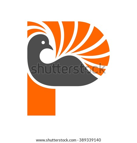 peacock logo vector. - stock vector