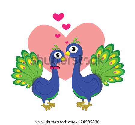 peacock romantic couple - stock vector