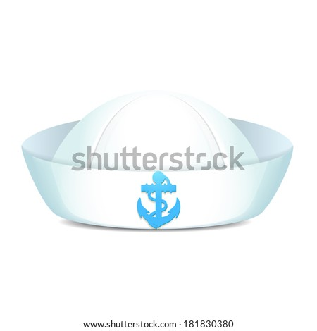 Peaked sailor hat with blue anchor on white background isolated vector illustration - stock vector