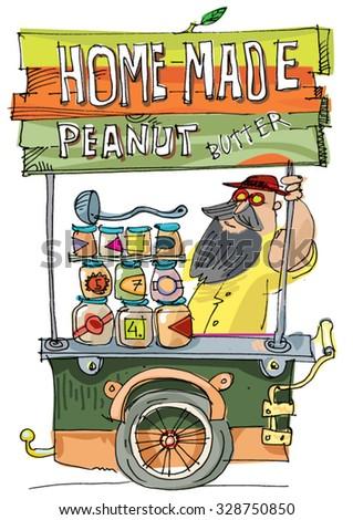 peanut butter kiosk - food festival vendor - cartoon - stock vector