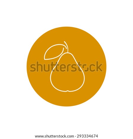 Pear, Colorful Round  Icon Pear, Fruit Icon, Vector Illustration - stock vector