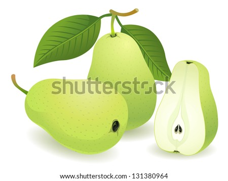 Pear, Isolated Vector Fruit - stock vector