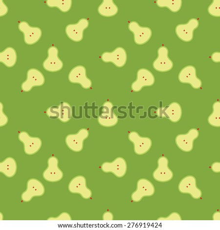 Pear seamless pattern. Fruit background. - stock vector