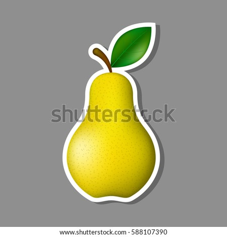 Pear sticker vector eco fruit food illustration