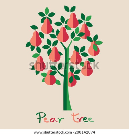 Pear tree. Pink pears vector illustration. - stock vector