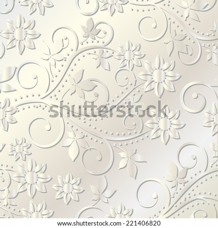 pearl background with floral design - stock vector