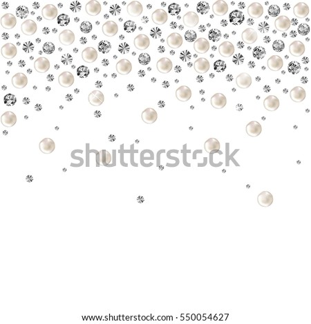 Pearl. Falling Gems Abstract Background. Shiny Diamond Design. Vector illustration. Collection. Luxury Beautiful Shining Jewellery Background with Pearls.