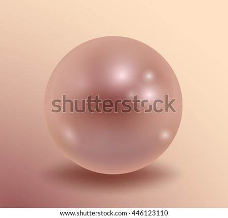 Pearl isolated on white background, decor, decoration. Realistic vector object. Vector illustrations 10 eps. - stock vector
