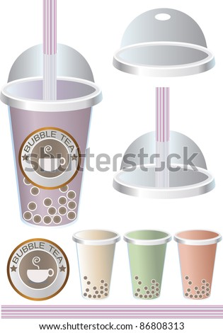 Pearl Milk Bubble Tea, Boba Milk Tea, Illustrator - stock vector