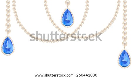 Pearl necklace jewelry with sapphire pendants isolated on white - stock vector