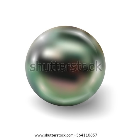 Pearl realistic isolated on white background. Spherical peacock 3D orb with transparent glares and highlights for decoration. Jewelry gemstones. Vector Illustration for your design and business.