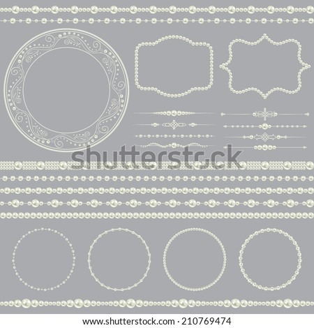 pearl realistic mega set collection isolated on grey background. vector illustration  - stock vector