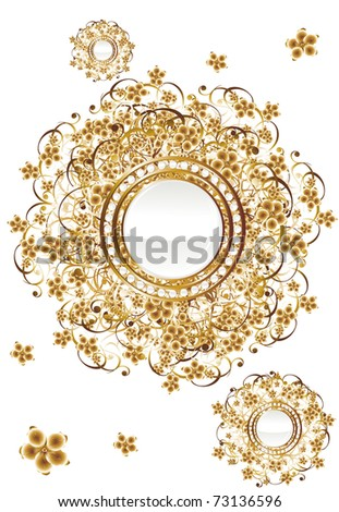 Pearls in gold - stock vector