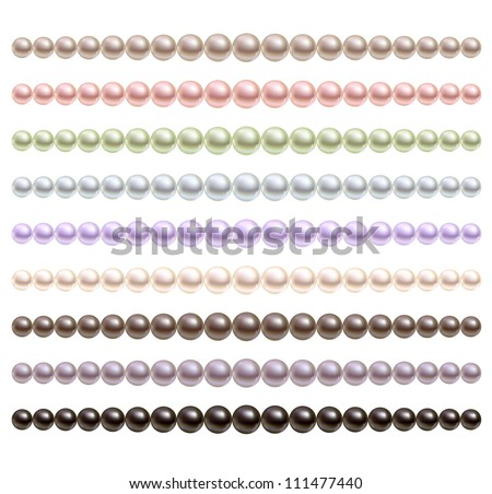 Pearls necklace of different colors. Vector set.