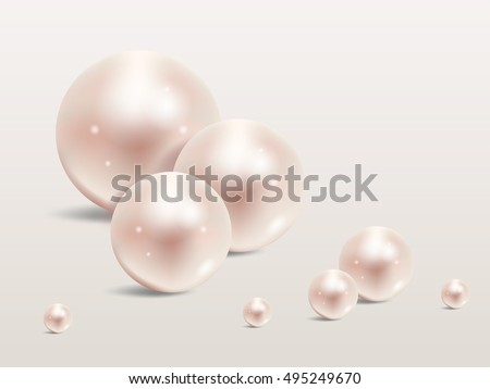 Pearls set isolated on background. Beautiful shiny natural pearls. Nacreous and iridescent. With transparent glares and highlights for decoration. Vector Illustration for your design