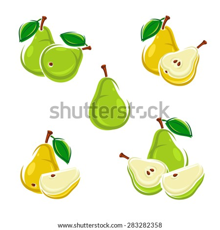 Pears set. Vector - stock vector