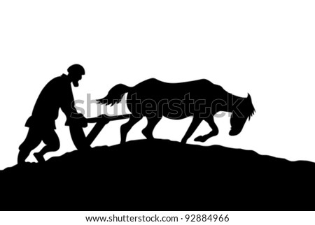 peasant silhouette on white background, vector illustration - stock vector