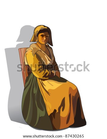 Peasant woman - stock vector