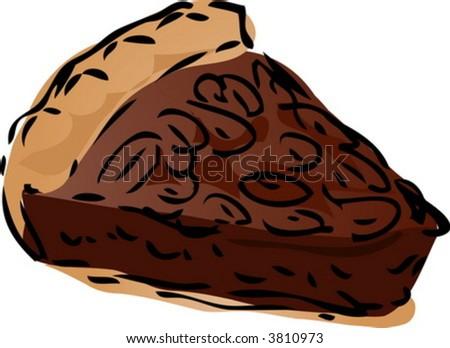 Pecan dessert Pie, hand drawn retro illustration - stock vector