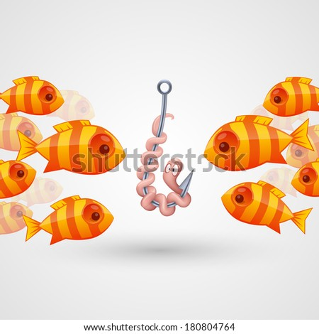 Peck on bait fish. Vector - stock vector