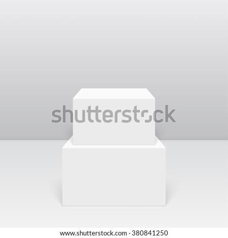 Pedestal for display. Platform for design. Realistic 3D empty podium - stock vector