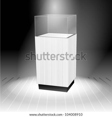 Pedestal glass display - stock vector