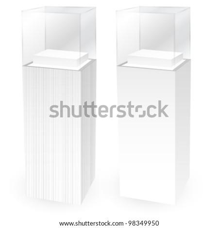 Pedestal glass display  Empty - stock vector