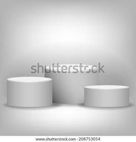 Pedestal in a lightened room - stock vector