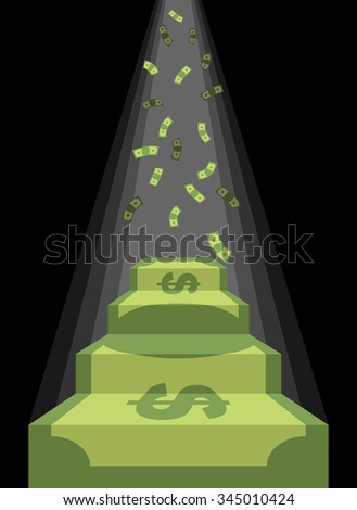 Pedestal out of money. Ladder to wealth of dollars. Rain of cash. Podium illuminated by light. Business illustration metaphor. Achieving wealth and luxury.