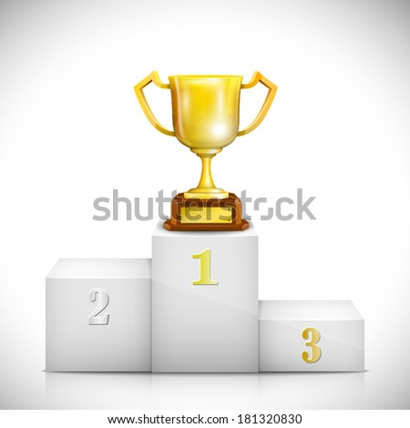 Pedestal With Gold Trophy Cup. Vector Illustration. - stock vector