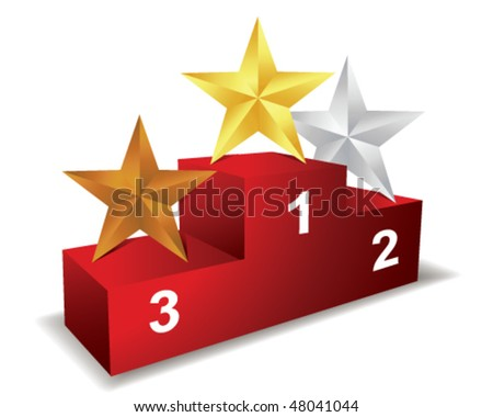 Pedestal with three star - stock vector