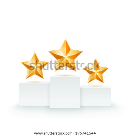 Pedestal with three stars. Vector illustration - stock vector