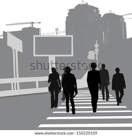 pedestrian crossing group people crossing road stock photo photo rh shutterstock com Pedestrian Icon Golden Leaf Clip Art
