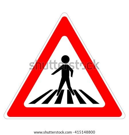 Pedestrian crossing sign. Traffic sign zebra crossing - stock vector