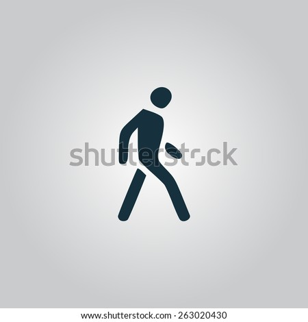 Pedestrian. Flat web icon, sign or button isolated on grey background. Collection modern trend concept design style vector illustration symbol - stock vector