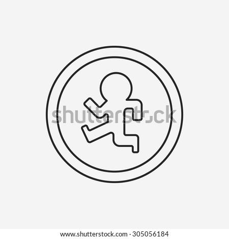Pedestrian sign line icon - stock vector