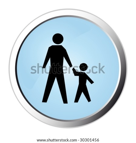 Pedestrian web button - stock vector