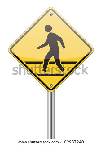 pedestrian yellow traffic sign on white - stock vector