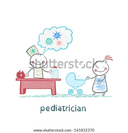 pediatrician at work listening to her mother with a baby in a stroller - stock vector