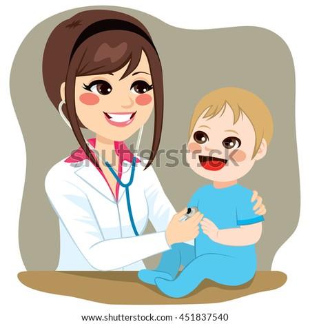 Pediatrician doctor examining baby boy on a visit - stock vector