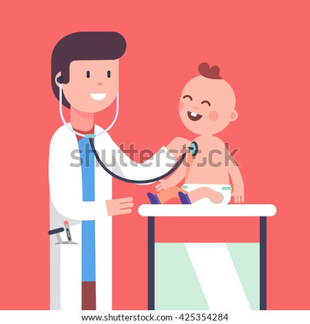 Pediatrician doctor examining little baby boy doing his health checkup. Listening to his heart beat and lungs with stethoscope. Modern flat style vector illustration cartoon clipart. - stock vector