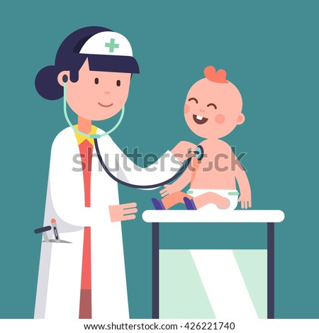 Pediatrician doctor woman doing medical examination of baby boy. Listening to kid heart rate with stethoscope. Modern flat style vector illustration cartoon clipart. - stock vector