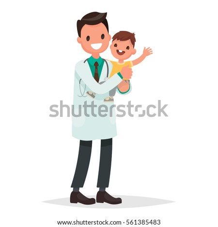 Pediatrician man holds  a healthy cheerful baby. Vector illustration in a flat style