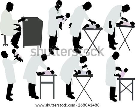 pediatrician vector silhouette - stock vector